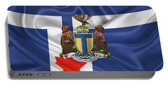 Toronto - Coat Of Arms Over City Of Toronto Flag  Portable Battery Charger