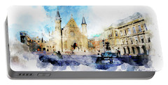 Town Life In Watercolor Style Portable Battery Charger