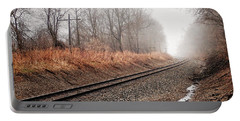 Portable Battery Charger featuring the photograph Tracks In Morning Fog by Lars Lentz
