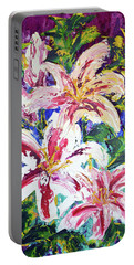 Tropical Flowers Portable Battery Charger by Lynda Cookson