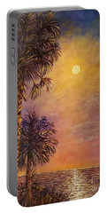 Portable Battery Charger featuring the painting Tropical Moon by Lou Ann Bagnall