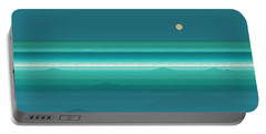 Portable Battery Charger featuring the digital art Tropical Sea Moonrise by Val Arie