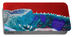 Turquoise Chameleon On Red Portable Battery Charger