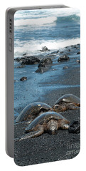 Turtles On Black Sand Beach Portable Battery Charger