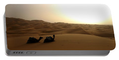 Two Camels At Sunset In The Desert Portable Battery Charger