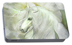 Portable Battery Charger featuring the mixed media Unicorn Rose by Carol Cavalaris