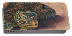 Portable Battery Charger featuring the painting Honu At Rest by Darice Machel McGuire