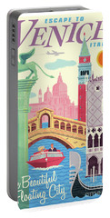 Venice Retro Travel Poster Portable Battery Charger