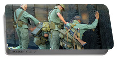 Portable Battery Charger featuring the photograph Veterans At Vietnam Wall by Carolyn Marshall