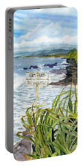 Portable Battery Charger featuring the painting View From Tanah Lot Bali Indonesia by Melly Terpening