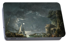 Portable Battery Charger featuring the painting View Of A Moonlit Mediterranean Harbor by Carlo Bonavia