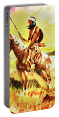 Portable Battery Charger featuring the painting Vigilante Apache by Al Brown