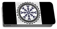 Portable Battery Charger featuring the digital art Viking Helm Of Awe by Vagabond Folk Art - Virginia Vivier