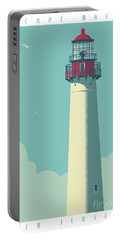 Vintage Style Cape May Lighthouse Travel Poster Portable Battery Charger