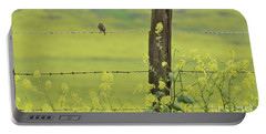 Warbler In The Meadow Portable Battery Charger by Debby Pueschel
