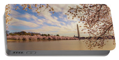Washington Monument And Cherry Blossom Portable Battery Charger by Rima Biswas