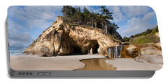 Waterfall Flowing Into The Pacific Ocean Portable Battery Charger