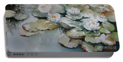 Portable Battery Charger featuring the painting Waterlilies by Elena Oleniuc