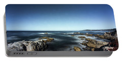 Portable Battery Charger featuring the photograph Wave Blowing By The Stong Wind At Th Pacific Ocean Coast With Ro by Jingjits Photography