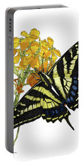 Western Tiger Swallowtail On A Western Wallflower Portable Battery Charger