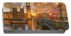Westminster Sunset Portable Battery Charger by Dominic Davison