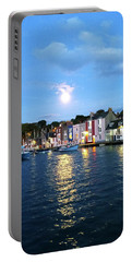 Portable Battery Charger featuring the photograph Weymouth Harbour Full Moon by Anne Kotan