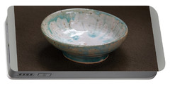 White Ceramic Bowl With Turquoise Blue Glaze Drips Portable Battery Charger by Suzanne Gaff