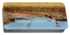 White Crane  Portable Battery Charger by Bonnie Willis