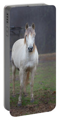White Horse In Fog Portable Battery Charger