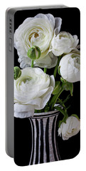 White Ranunculus In Black And White Vase Portable Battery Charger