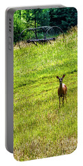 Portable Battery Charger featuring the photograph Whitetail Deer And Hay Rake by Thomas R Fletcher