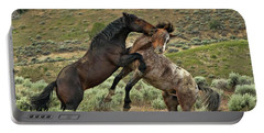 Wild Mustang Stallions Fighting Portable Battery Charger