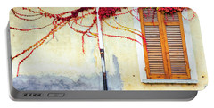 Portable Battery Charger featuring the photograph Window And Red Vine by Silvia Ganora