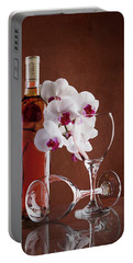 Wine And Orchids Still Life Portable Battery Charger