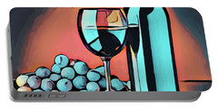 Wine Glass Bottle And Grapes Abstract Pop Art Portable Battery Charger