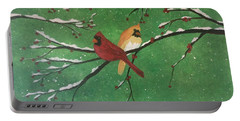 Winter Cardinals Portable Battery Charger by Denise Tomasura