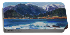 Portable Battery Charger featuring the painting Winter Mountains Alaska by Yulia Kazansky