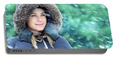 Winter Woman Portrait Portable Battery Charger