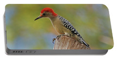 Portable Battery Charger featuring the digital art 1- Woodpecker by Joseph Keane