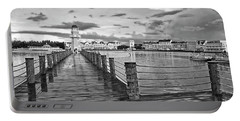 Yacht And Beach Lighthouse In Black And White Walt Disney World Mp Portable Battery Charger