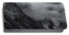 Yosemite Valley Panorama In Black And White Portable Battery Charger