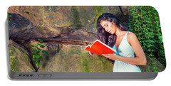 Young American Woman Reading Book At Central Park, New York, In  Portable Battery Charger