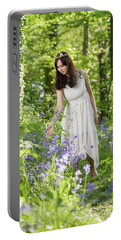 Young Woman In Bluebell Woodland Portable Battery Charger