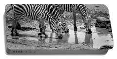 Zebras At The Watering Hole Portable Battery Charger