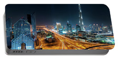 Amazing Night Dubai Downtown Skyline, Dubai, United Arab Emirates Portable Battery Charger