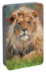Portable Battery Charger featuring the painting Lion by David Stribbling