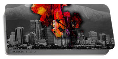 Los Angeles Map And Skyline Portable Battery Charger by Marvin Blaine