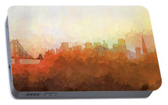 Portable Battery Charger featuring the digital art San Francisco California Skyline by Marlene Watson