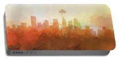 Portable Battery Charger featuring the digital art Seattle Washington Skyline by Marlene Watson