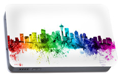 Seattle Washington Skyline Portable Battery Charger by Michael Tompsett